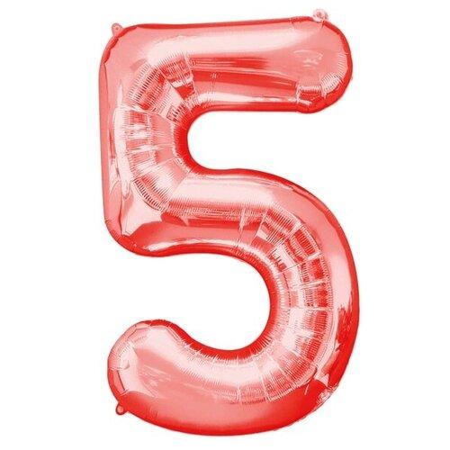 Фото - Шар фольгированный 40 Цифра 5, цвет красный 2769643 воздушный шар страна карнавалия цифра 5 сиреневый