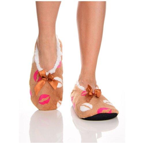 Плюшевые домашние носки на нескользящей подошве, внутренний подклад из искусственного меха, принт цветные губы - поцелуйчики, светло-коричневый цвет, размер 35-38