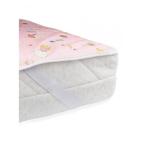 Наматрасник Multi Diapers непромокаемый, теплый, из ультрасофта, 60х120 см, Мишки на розовом наматрасник multi diapers непромокаемый из микрофибры с рисунком 60х120 см лисы