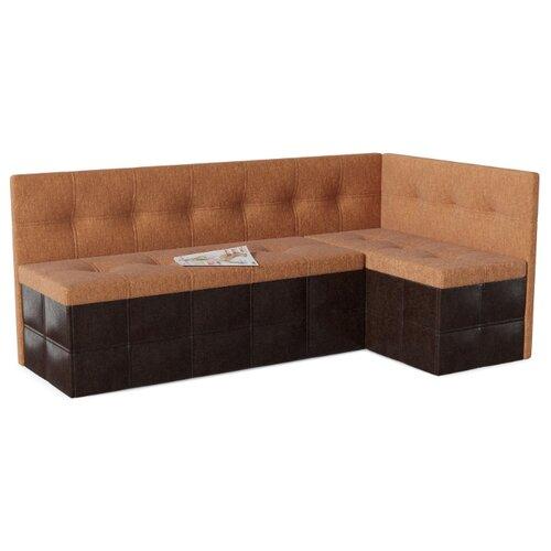 Кухонный диван SMART Домино правый оранжевый/коричневый