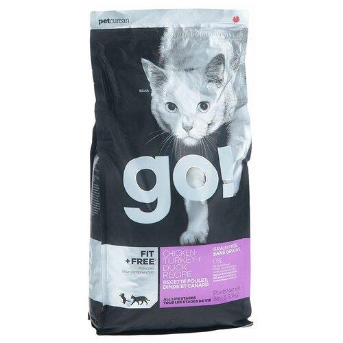 Сухой корм для кошек GO! Fit + Free, беззерновой, для здоровья кожи и блеска шерсти, с лососем, с курицей, с индейкой, с уткой 3.63 кг