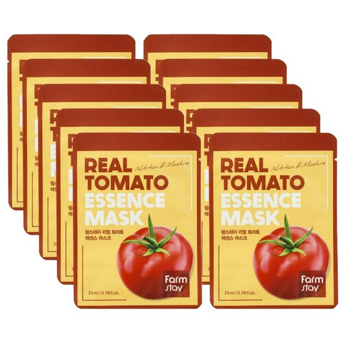 тканевая маска для лица с экстрактом томата facial sheet mask tomato revitalizing 25мл FarmStay Тканевая маска для лица с экстрактом томата Real Tomato Essence Mask 10шт 23 мл