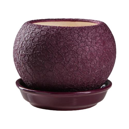 Горшок Ориана с поддоном Шар шёлк 10 см х 10 см х 9 см фиолетовый по цене 371