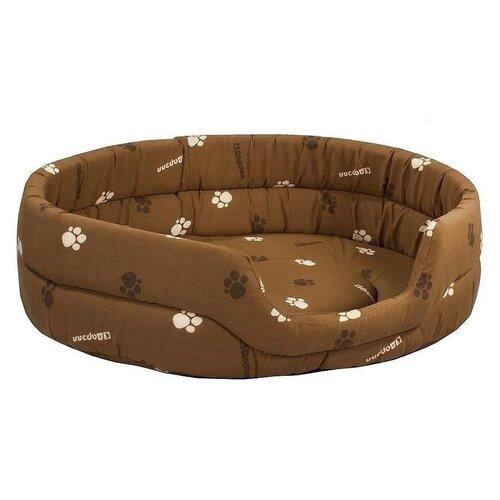 Лежак для собак и кошек Дарэлл Овальный стёганый 9144 75х60х18 см коричневый недорого