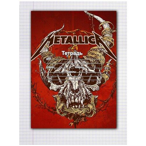 Купить Набор тетрадей 5 штук, 12 листов в клетку с рисунком Metallica Череп на красном, Drabs, Тетради