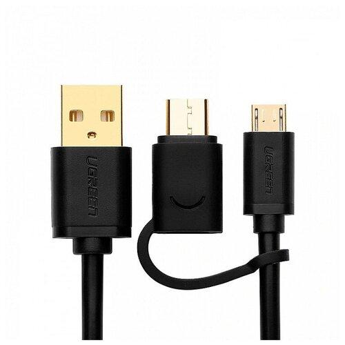 Кабель Ugreen 2 в 1 USB Type C + Micro USB to USB Charging & Sync 2.4А (USB 2.0 черный 0.5M)