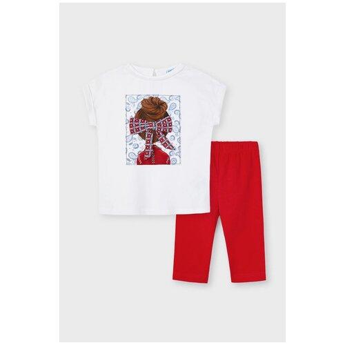 Комплект одежды Mayoral размер 5(110), ярко-красный комплект одежды mayoral размер 110 белый красный