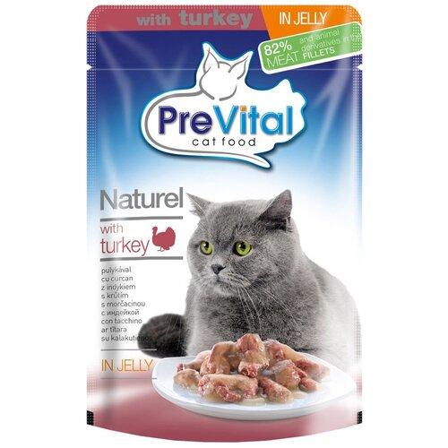 Влажный корм для кошек PreVital с индейкой 10 шт. х 85 г (кусочки в желе) влажный корм для кошек prevital с индейкой 28 шт х 85 г кусочки в желе
