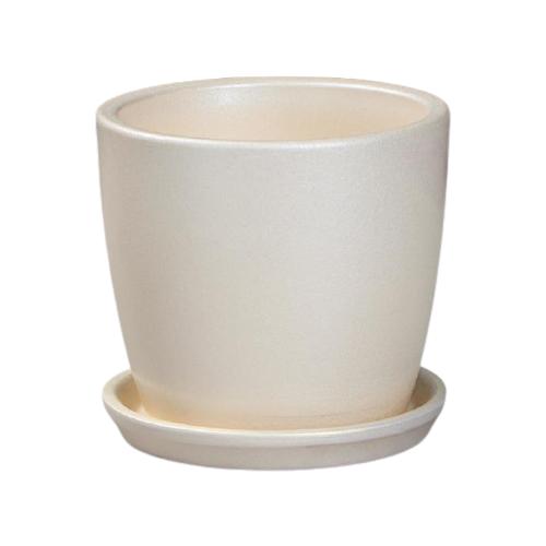Горшок Керамика ручной работы с поддоном Осень Перламутр 10 х 10 см бежевый по цене 384