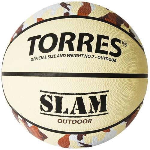 Баскетбольный мяч TORRES Slam B02067, р. 7 бежевый/хаки мяч баскетбольный torres slam b02065 р 5