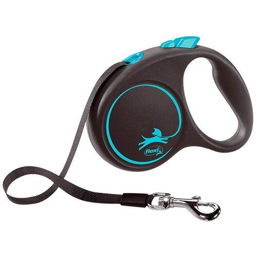 Фото - Поводок-рулетка для собак Flexi Black Design S ленточный черный/голубой 5 м поводок рулетка для собак flexi black design m ленточный зеленый 5 м