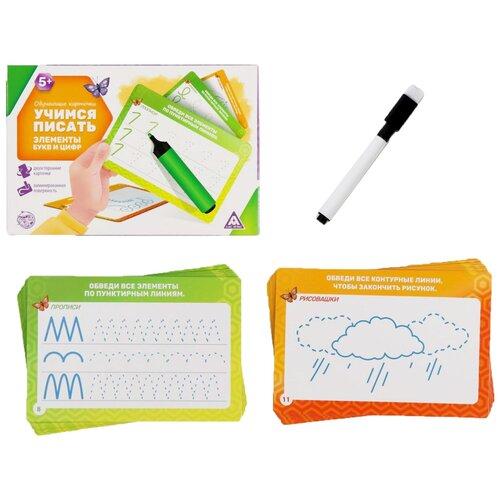 Обучающие карточки Учимся писать элементы букв и цифр, 5+ 4252257