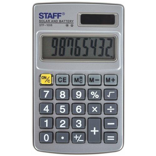 Калькулятор карманный STAFF STF-1008 серый