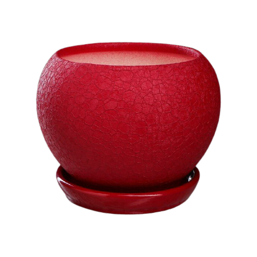 Горшок Керамика ручной работы с поддоном Шар шелк 18 х 18 х 14 см вишневый по цене 631