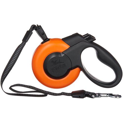 Поводок-рулетка для собак Fida Mars тросовая (S) оранжевый/черный 5 м