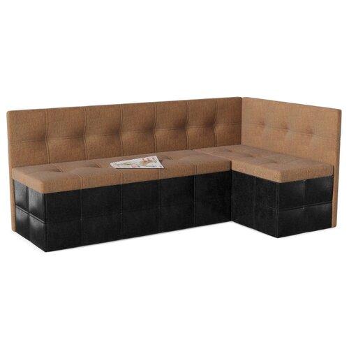 Кухонный диван SMART Домино правый коричневый/черный