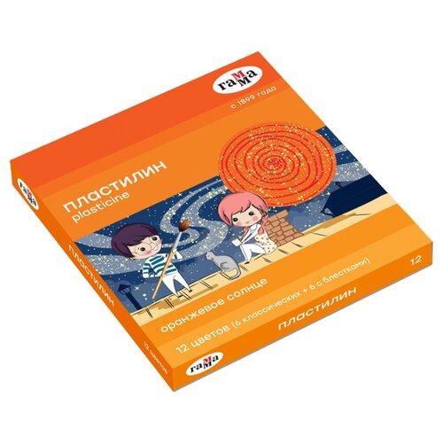 Купить Пластилин ГАММА Оранжевое солнце 12 цветов 168 г (130520205), Пластилин и масса для лепки