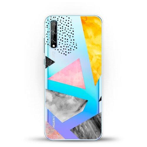 Силиконовый чехол Мраморные треугольники на Huawei Y8p