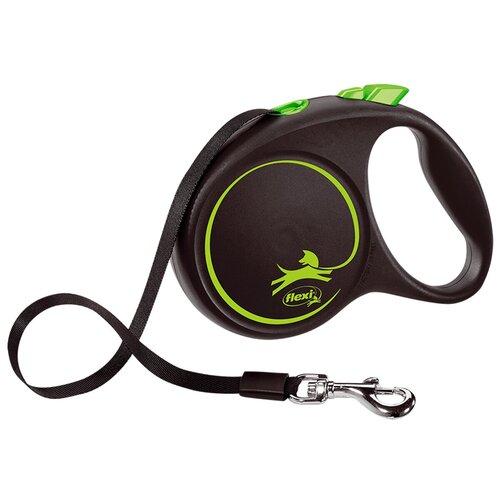 Фото - Поводок-рулетка для собак Flexi Black Design L ленточный черный/зеленый 5 м поводок рулетка для собак flexi black design m ленточный зеленый 5 м