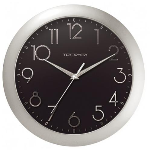 Часы настенные кварцевые Тройка 11170182 серебристый.