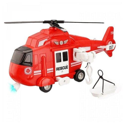 Купить Машинка детская Вертолет спасательный инерционный, М 1:16, на батарейках, свет, звук, цвет красный, в/к 32*11, 5*18, 5см, Компания Друзей, Машинки и техника