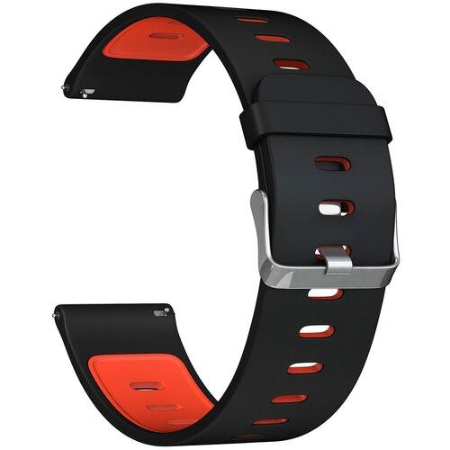 Lyambda Универсальный силиконовый ремешок Adhara для часов 22 mm black/red