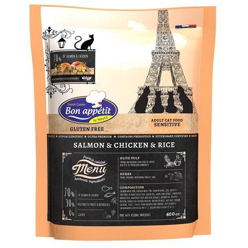 Сухой корм для кошек Bon Appetit при чувствительном пищеварении, гипоаллергенный, с лососем, с курицей, с рисом 400 г
