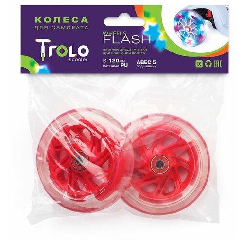 Фото - Колесо для самоката Trolo Maxi светящиеся передние, 120 мм, комплект (2 шт.) красный кикборд trolo d3 красный черный