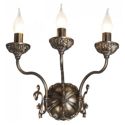 Настенный светильник Vitaluce V1115/3A, E14, 180 Вт, кол-во ламп: 3 шт., цвет арматуры: коричневый настенный светильник vitaluce v1115 3a 180 вт