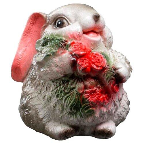 Копилка Хорошие сувениры Кролик с цветами, гипс 14х12х15 см серый