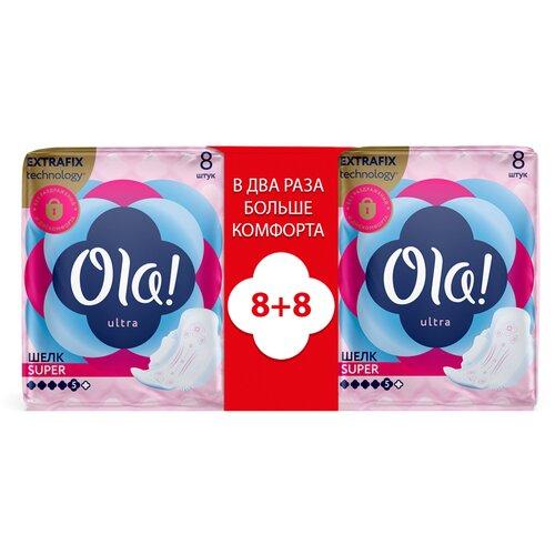 Фото - Ola! прокладки Ultra Super Шелковистая поверхность, 5 капель, 8 шт., 2 уп. ola прокладки ultra normal шелковистая поверхность 4 капли 10 шт