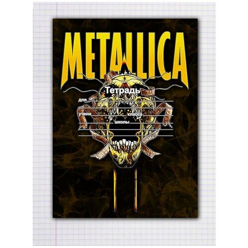 Купить Набор тетрадей 5 штук, 12 листов в клетку с рисунком Metallica Череп желтый, Drabs, Тетради