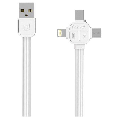 Кабель Remax Lesu USB - USB Type-C/Lightning/microUSB (RC-066th) 1 м, белый кабель remax full speed usb lightning rc 001i 1 м красный