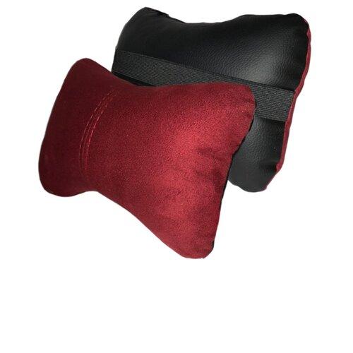 Комплект автомобильных подушек под шею (замш/экокожа, черный/красный, 2 штуки)