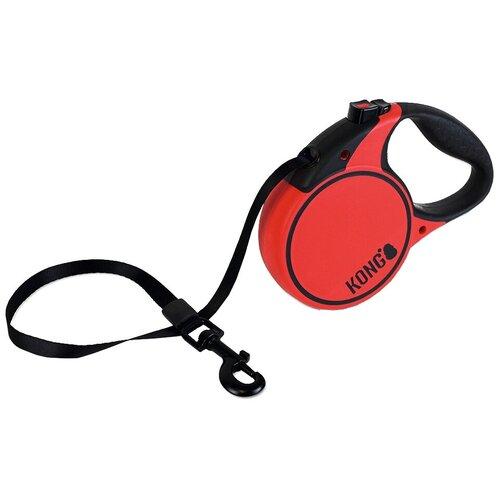Поводок-рулетка для собак KONG Terrain M красный 5 м 12 мм рулетка для собак kong reflect m до 30 кг 5 м серый