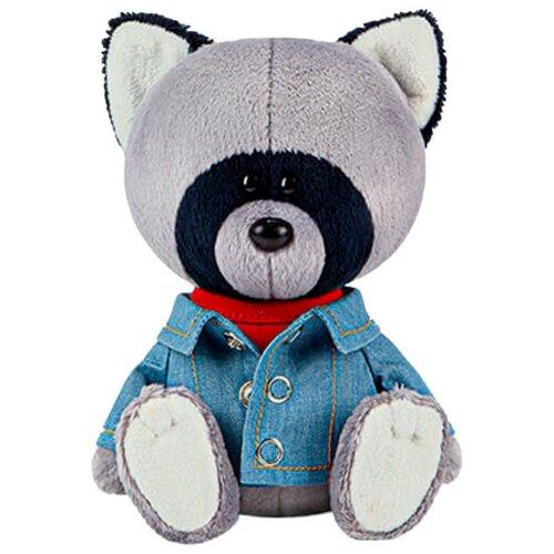 Мягкая игрушка Лесята Енот Лёка в красной майке и джинсовке 15 см