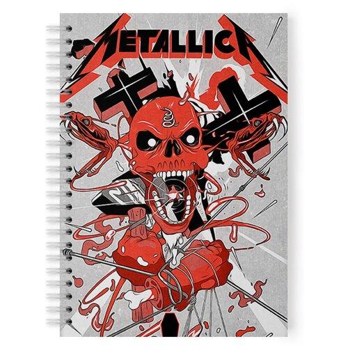 Купить Тетрадь 48 листов в клетку с рисунком Metallica Череп оранжевый, Drabs, Тетради