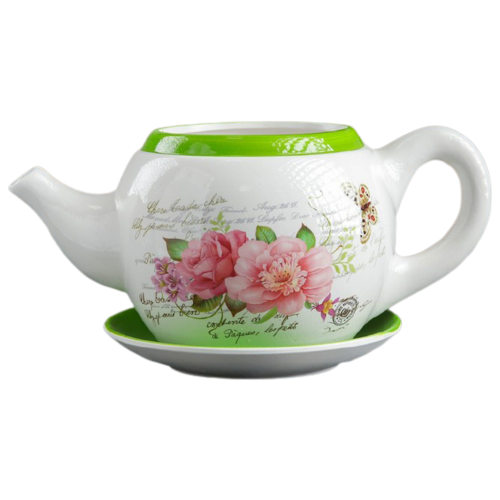 Горшок Take It Easy с поддоном Цветы 32 х 18 х 15 см белый/зеленый по цене 1 428