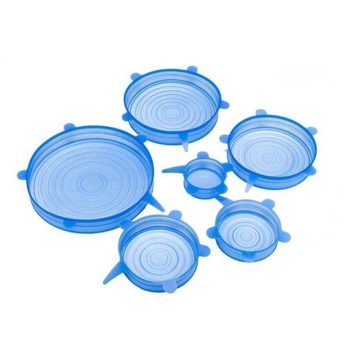 Набор силиконовых крышек 6 шт, синие, Kitchen Angel KA-LID-02 крышка kitchen angel ka lid 05 зеленый