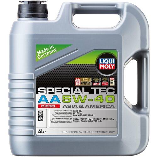 Синтетическое моторное масло LIQUI MOLY Special Tec AA Diesel 5W-40 4 л моторное масло liqui moly top tec 4100 5w 40 sn cf a3 b4 c3 5 л нс синтетическое 7501