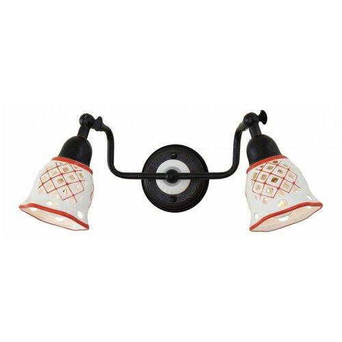 Настенный светильник Citilux Ажур CL534523, E14, 120 Вт, кол-во ламп: 2 шт., цвет арматуры: черный, цвет плафона: красный настенный светильник citilux медея cl436321 120 вт