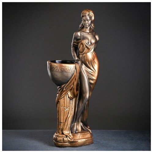 Хорошие сувениры Фигура с кашпо Девушка Дана черное золото 81см фигура девушка на коленях золото 10х6х15см 3928137