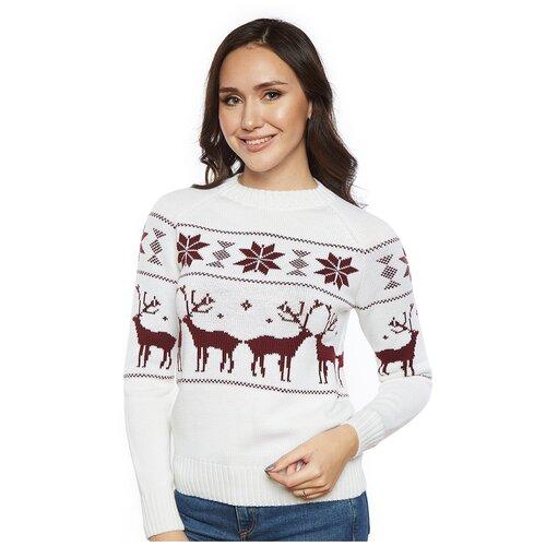 Женский свитер, классический скандинавский орнамент с Оленями и снежинками, натуральная шерсть, молочный, бордовый цвет, размер M