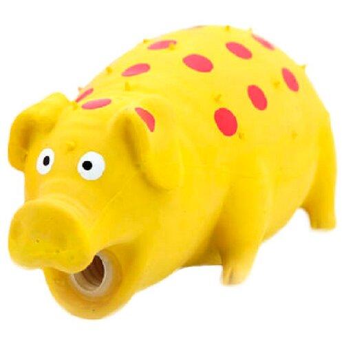 игрушка для собак kong сквиз джелс свинка с пищалкой цвет розовый 6 см х 6 см х 9 5 см Игрушка Lilli Pet СВИНКА ПИНКИ с пищалкой для собак, 20 см, желтая