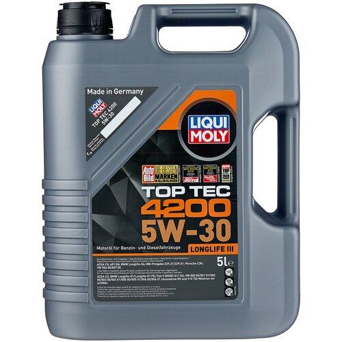 Синтетическое моторное масло LIQUI MOLY Top Tec 4200 5W-30 5 л моторное масло liqui moly top tec 4100 5w 40 sn cf a3 b4 c3 5 л нс синтетическое 7501