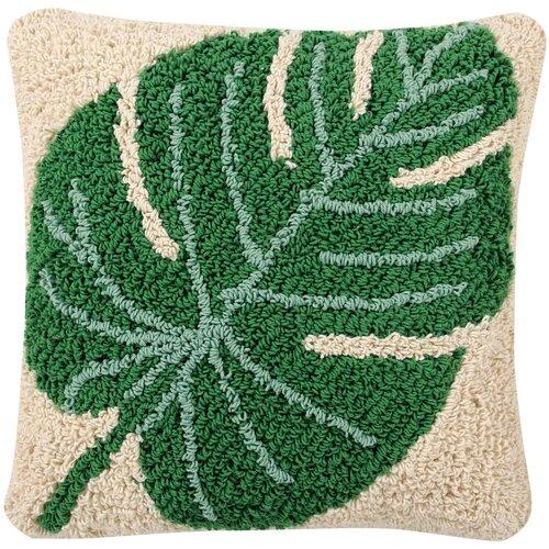 Подушка декоративная Lorena Canals Монстера, 38 х 38 см бежевый/зеленый
