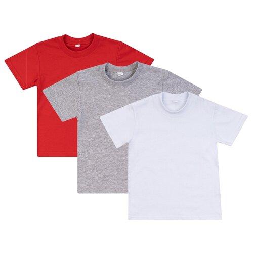 Купить Футболка Утенок, комплект из 3 шт., размер 116, красный/меланж/белый, Футболки и майки