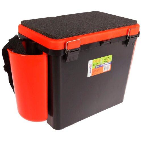 Ящик для рыбалки HELIOS FishBox односекционный (19л) 38х25.5х32 см оранжевый/черный
