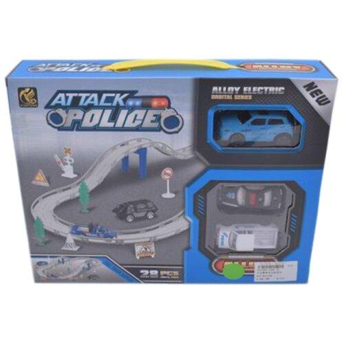 Игровой набор Автотрек, в комплекте: деталей 28шт, транспорт металлический 2шт, Машина электрифицированная, эл.пит.АА*1шт.не вх.в комплект Shantoy Gepay 696-3C