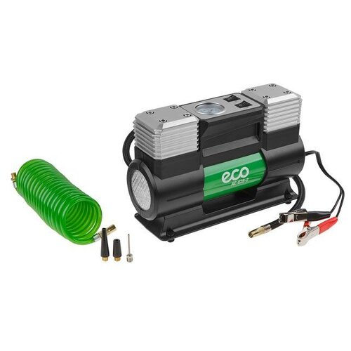Компрессор автомобильный ECO AE-028-2 (12 В, 280 Вт, 70 л/мин, 2 цилиндра, 10 бар (манометр 7 бар), фонарь, сумка)